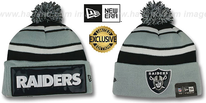 Raiders THROWBACK 'BIG-SCREEN' Knit Beanie Hat by New Era : pictured without stickers that these products are shipped with