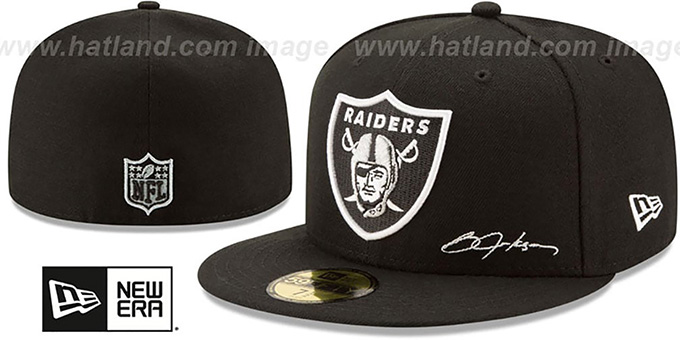 873b44979 Raiders  THROWBACK JACKSON STATS  Black Fitted Hat by New Era