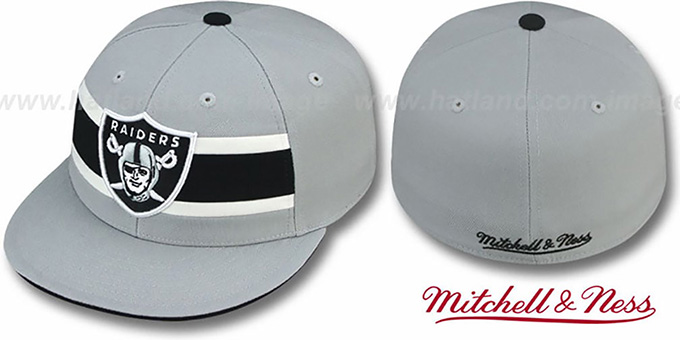 Raiders 'THROWBACK TIMEOUT' Grey Fitted Hat by Mitchell & Ness : pictured without stickers that these products are shipped with