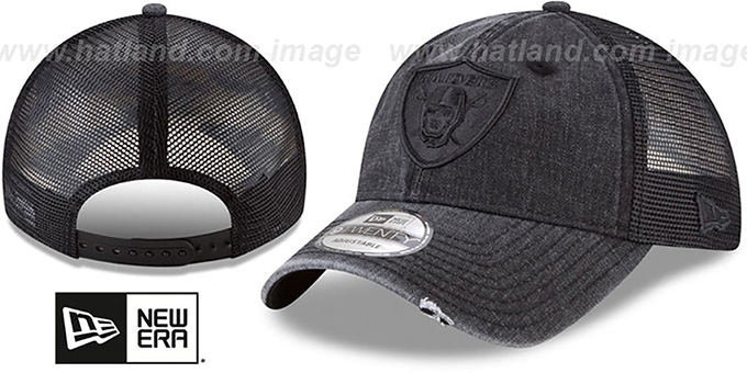 6b7b77dc8965f Raiders  TONAL-WASHED TRUCKER SNAPBACK  Black Hat by ...