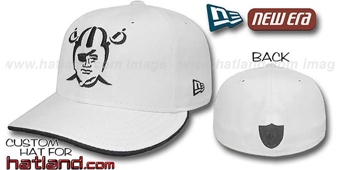 Raiders 'TRACE FLIP' Fitted Hat - white : pictured without stickers that these products are shipped with