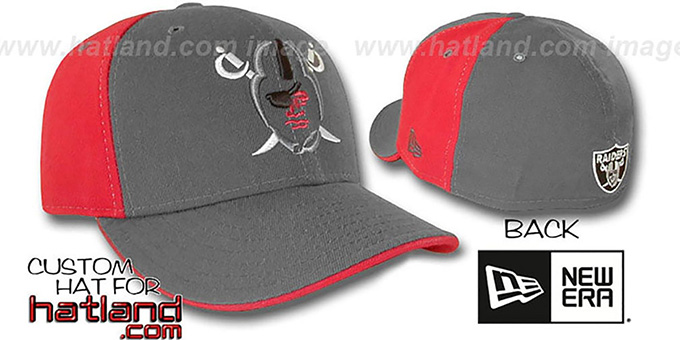 Raiders 'TRACE PINWHEEL' Grey-Red Fitted Hat by New Era : pictured without stickers that these products are shipped with