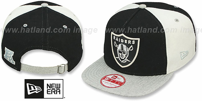 Raiders 'TRIPLE MELTON STRAPBACK' Black-White-Grey Hat by New Era : pictured without stickers that these products are shipped with