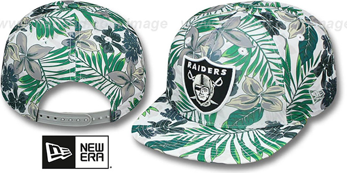 Raiders 'TROPTRIP BLOOM SNAPBACK' Hat by New Era : pictured without stickers that these products are shipped with