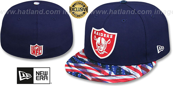 Raiders 'USA WAVING-FLAG' Navy Fitted Hat by New Era : pictured without stickers that these products are shipped with