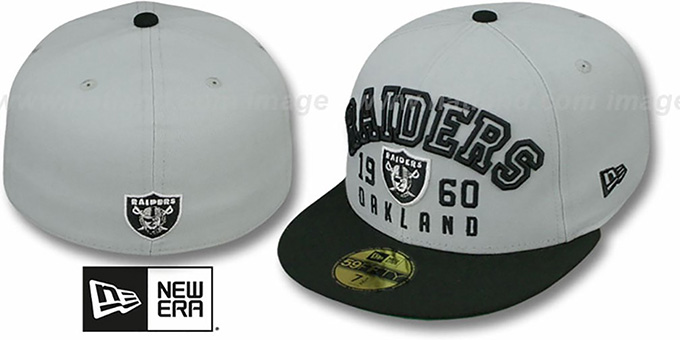 Raiders 'WORD-KNOCK' Grey-Black Fitted Hat by New Era : pictured without stickers that these products are shipped with