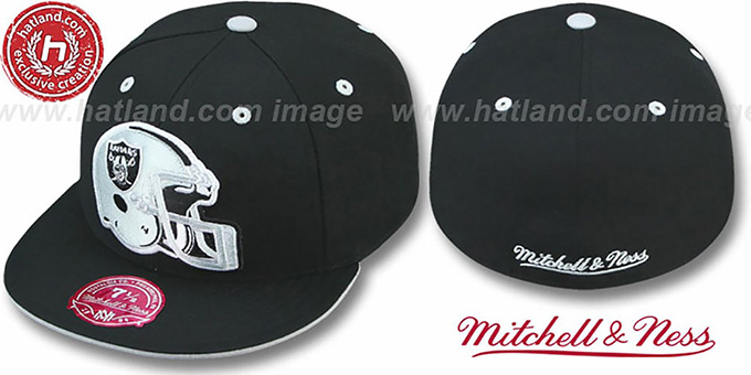 Raiders 'XL-HELMET' Black Fitted Hat by Mitchell & Ness : pictured without stickers that these products are shipped with