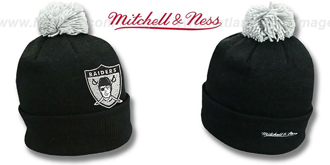 Raiders 'XL-LOGO BEANIE' Black by Mitchell and Ness : pictured without stickers that these products are shipped with