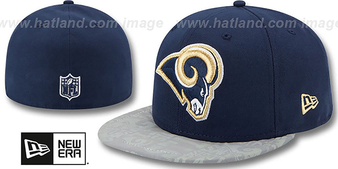 Rams '2014 NFL DRAFT' Navy Fitted Hat by New Era : pictured without stickers that these products are shipped with