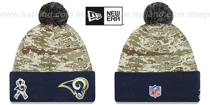 Rams '2015 SALUTE-TO-SERVICE' Knit Beanie Hat by New Era : pictured without stickers that these products are shipped with