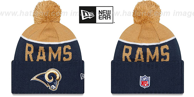 Rams '2015 STADIUM' Navy-Gold Knit Beanie Hat by New Era : pictured without stickers that these products are shipped with