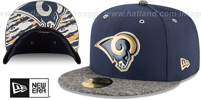 Rams '2016 NFL DRAFT' Fitted Hat by New Era : pictured without stickers that these products are shipped with