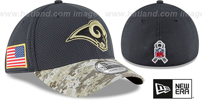 Rams '2016 SALUTE-TO-SERVICE FLEX' Grey-Desert Hat by New Era : pictured without stickers that these products are shipped with