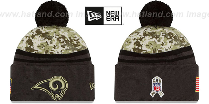 Rams '2016 SALUTE-TO-SERVICE' Knit Beanie Hat by New Era : pictured without stickers that these products are shipped with