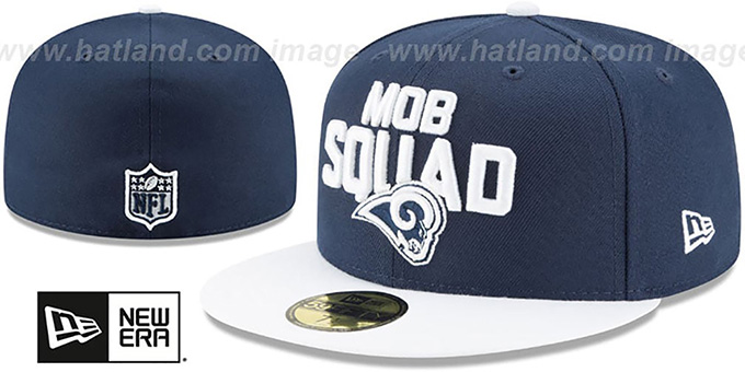 Rams '2018 SPOTLIGHT' Navy-White Fitted Hat by New Era : pictured without stickers that these products are shipped with