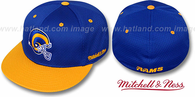 Rams '2T BP-MESH' Royal-Gold Fitted Hat by Mitchell & Ness : pictured without stickers that these products are shipped with