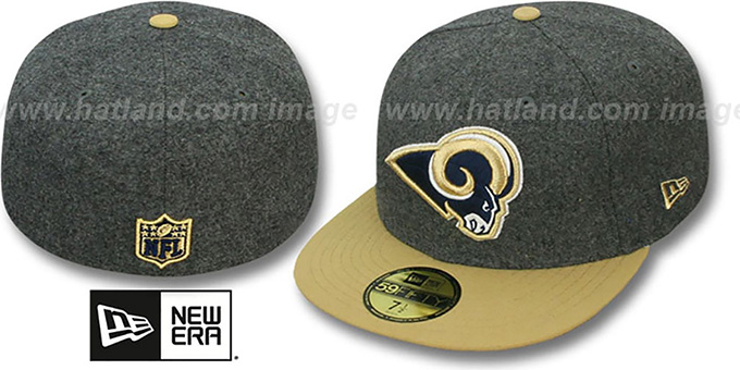 Rams '2T NFL MELTON-BASIC' Grey-Gold Fitted Hat by New Era : pictured without stickers that these products are shipped with