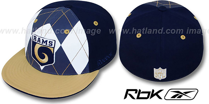 Rams 'ARGYLE-SHIELD' Navy-Gold Fitted Hat by Reebok : pictured without stickers that these products are shipped with