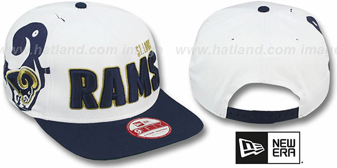 Rams 'BIGSIDE A-FRAME SNAPBACK' White-Navy Hat by New Era : pictured without stickers that these products are shipped with