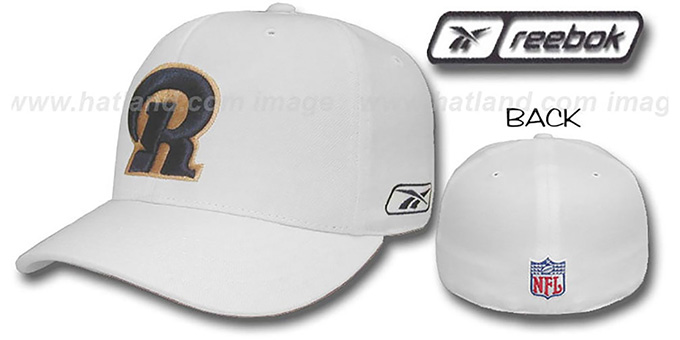Rams 'COACHES' Fitted Hat by Reebok - white : pictured without stickers that these products are shipped with