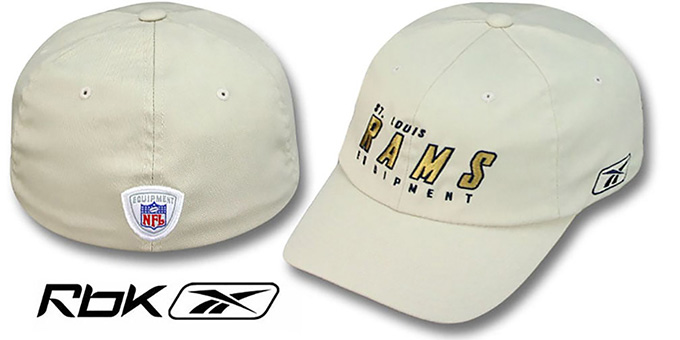 Rams 'EQUIPMENT FLEX' Hat by Reebok - tan : pictured without stickers that these products are shipped with