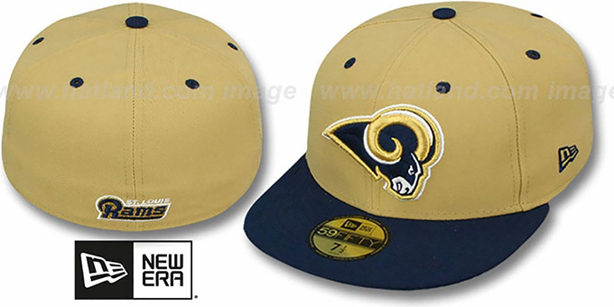 Rams 'NFL 2T-TEAM-BASIC' Gold-Navy Fitted Hat by New Era : pictured without stickers that these products are shipped with