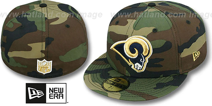Rams 'NFL TEAM-BASIC' Army Camo Fitted Hat by New Era : pictured without stickers that these products are shipped with