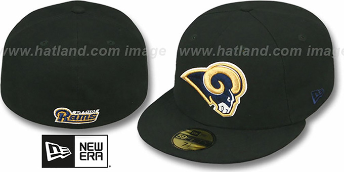 Rams 'NFL TEAM-BASIC' Black Fitted Hat by New Era : pictured without stickers that these products are shipped with