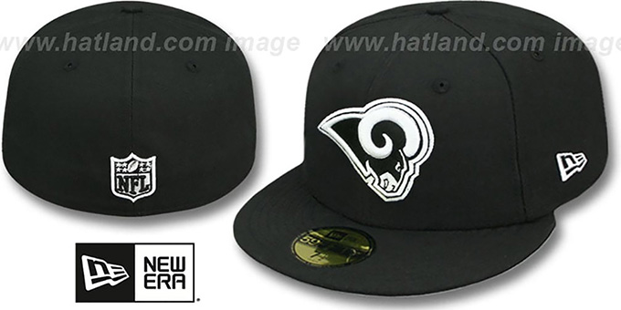 Rams 'NFL TEAM-BASIC' Black-White Fitted Hat by New Era : pictured without stickers that these products are shipped with