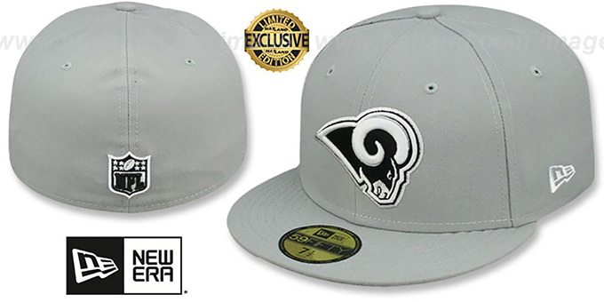 Rams 'NFL TEAM-BASIC' Grey-Black-White Fitted Hat by New Era : pictured without stickers that these products are shipped with