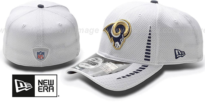 Rams 'NFL TRAINING FLEX' White Hat by New Era : pictured without stickers that these products are shipped with