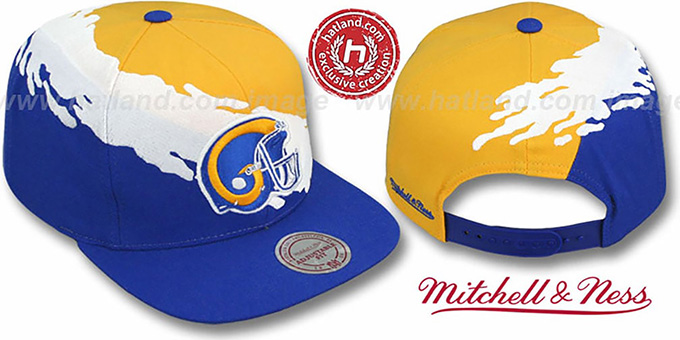 Rams 'PAINTBRUSH SNAPBACK' Gold-White-Royal Hat by Mitchell & Ness : pictured without stickers that these products are shipped with