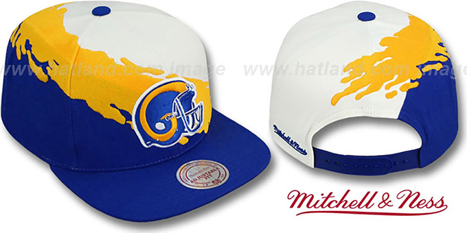 Rams 'PAINTBRUSH SNAPBACK' White-Gold-Royal Hat by Mitchell & Ness : pictured without stickers that these products are shipped with