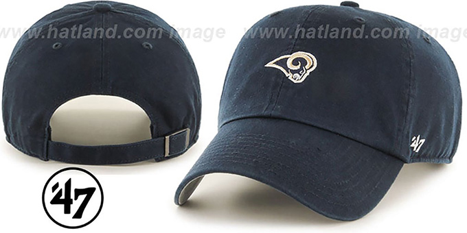 Rams 'POLO STRAPBACK' Navy Hat by Twins 47 Brand : pictured without stickers that these products are shipped with