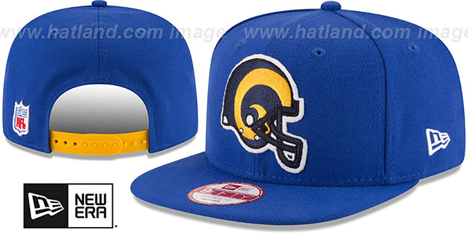 Rams 'RETRO-BASIC SNAPBACK' Royal Hat by New Era : pictured without stickers that these products are shipped with
