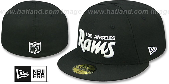 Rams 'SCRIPT TEAM-BASIC' Black-White Fitted Hat by New Era : pictured without stickers that these products are shipped with