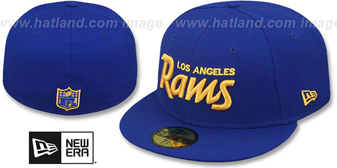 Rams 'SCRIPT TEAM-BASIC' Royal-Gold Fitted Hat by New Era : pictured without stickers that these products are shipped with