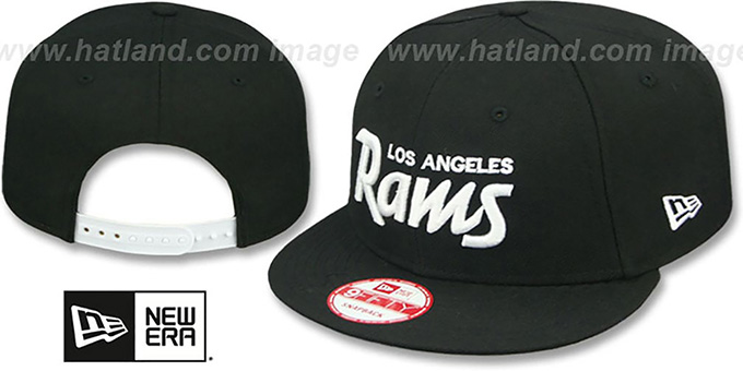 Rams 'SCRIPT TEAM-BASIC SNAPBACK' Black-White Hat by New Era : pictured without stickers that these products are shipped with