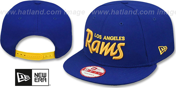 Rams 'SCRIPT TEAM-BASIC SNAPBACK' Royal-Gold Hat by New Era : pictured without stickers that these products are shipped with
