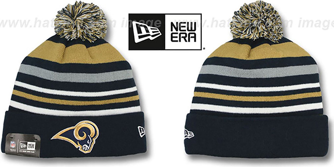 Rams 'STRIPEOUT' Knit Beanie Hat by New Era : pictured without stickers that these products are shipped with