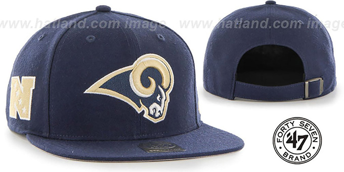 Rams 'SUPER-SHOT STRAPBACK' Navy Hat by Twins 47 Brand : pictured without stickers that these products are shipped with