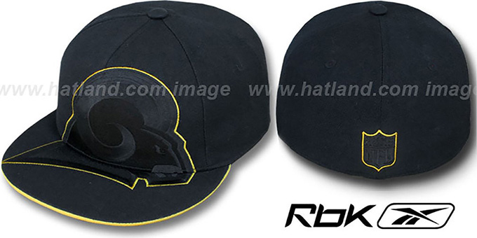 Rams 'SUPERSIZE TRACE' Black Fitted Hat by Reebok : pictured without stickers that these products are shipped with
