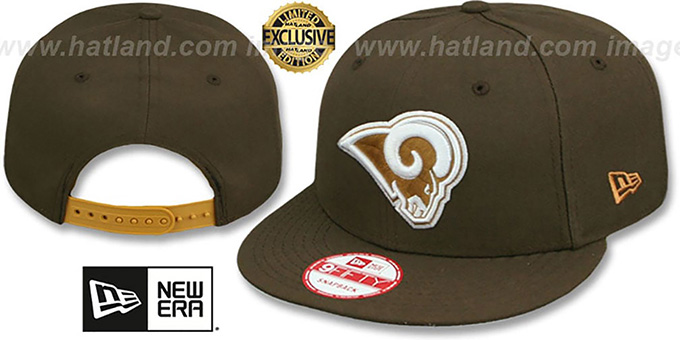 Rams 'TEAM-BASIC SNAPBACK' Brown-Wheat Hat by New Era : pictured without stickers that these products are shipped with