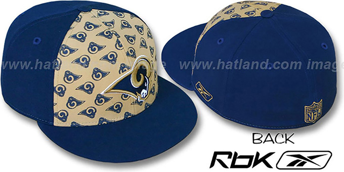 Rams 'TEAM-PRINT PINWHEEL' Gold-Navy Fitted Hat by Reebok : pictured without stickers that these products are shipped with