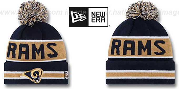 Rams 'THE-COACH' Navy Knit Beanie Hat by New Era : pictured without stickers that these products are shipped with