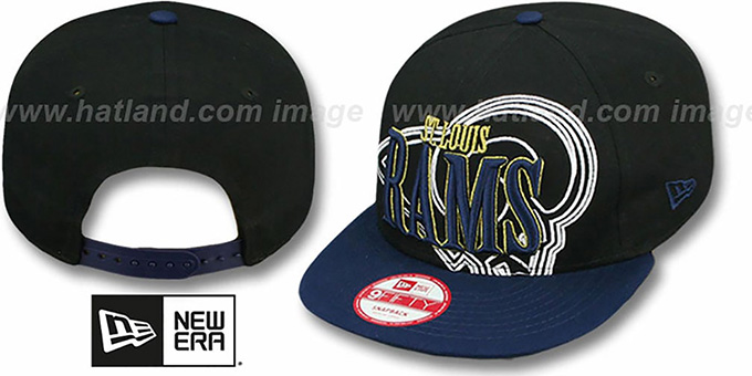 Rams 'THROUGH SNAPBACK' Black-Navy Hat by New Era : pictured without stickers that these products are shipped with
