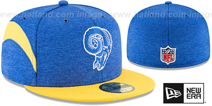 Rams  TB RAM HEAD HOME ONFIELD STADIUM  Royal-Gold Fitted Hat by New 6ea4a3e62