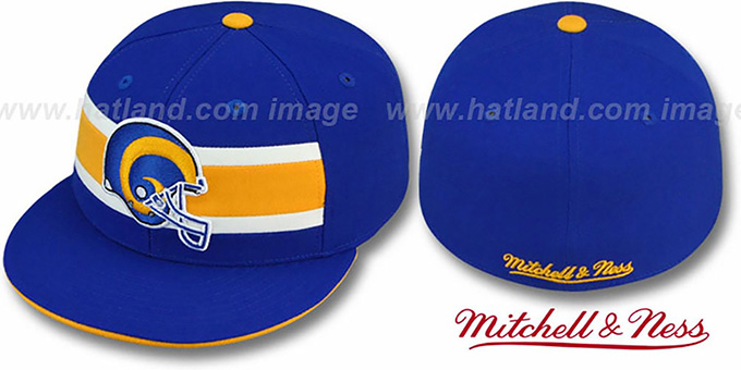 Rams 'THROWBACK TIMEOUT' Royal Fitted Hat by Mitchell & Ness : pictured without stickers that these products are shipped with