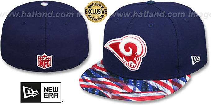 Rams 'USA WAVING-FLAG' Navy Fitted Hat by New Era : pictured without stickers that these products are shipped with