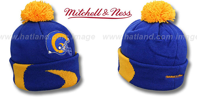 Rams 'XL-LOGO BEANIE' Royal by Mitchell and Ness : pictured without stickers that these products are shipped with